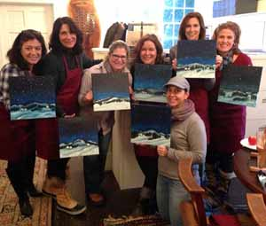 Impression-Sips (class of 2015) with winter scenes inspired by George Sotter's Moonlight in Bucks County